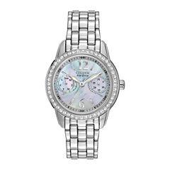 Citizen® Eco-Drive® Womens Silver-Tone Black Mother-of-Pearl Multifunction Watch FD1030-56Y