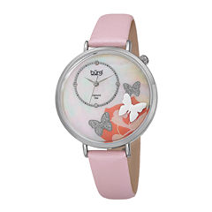 Burgi Womens Diamond Accent Silver-Tone Mother-of-Pearl Pink Butterfly Strap Watch