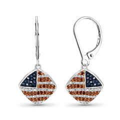 1/3 CT. T.W. White and Color-Treated Red & Blue Diamond Flag Earrings