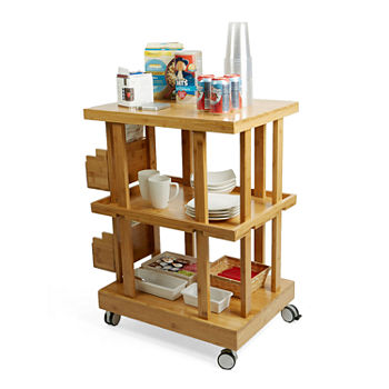 Mind Reader 3 Tier Bamboo Mobile Utility Storage Cart Brown
