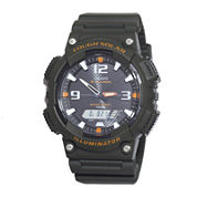 Casio® Tough Solar Sport Mens Black and Orange Multifunction Watch AQS18W-3AVCF