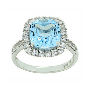 Genuine Blue Topaz Amp Lab created White Sapphire Sterling Silver Ring