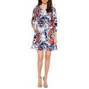 Weslee Rose 3/4 Sleeve Shift Dress