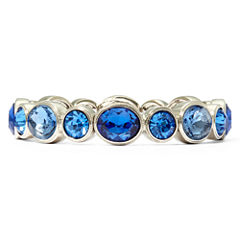 Monet® Silver-Tone Blue Stones Stretch Bracelet