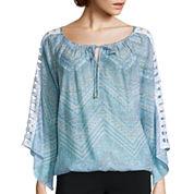 Alyx® Crochet Long-Sleeve Printed Gauze Top