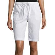 Liz Claiborne® Linen-Cotton Shorts - Plus