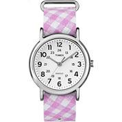 Timex Weekender Womens Pink Strap Watch-Tw2r24200