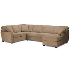 Fabric Possibilities Roll Arm 3-Pc Left Arm Corner Sofa Sectional