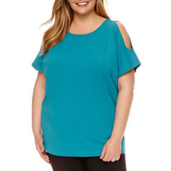 Worthington® Short Sleeve Cold Shoulder Dolman T-Shirt - Plus
