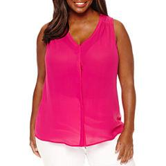Worthington Sleeveless Button-Front Shirt-Plus