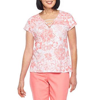 Hearts Of Palm Blush Strokes womens V Neck Short Sleeve T shirt