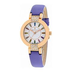Christian Van Sant Celine Womens Silver Dial Purple Leather Strap Watch