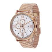 Christian Van Sant Somptueuse Mens White Dial Rose-Tone Stainless Steel Bracelet Watch
