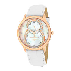 Christian Van Sant Infinie Womens Mother-of-Pearl White Leather Strap Watch