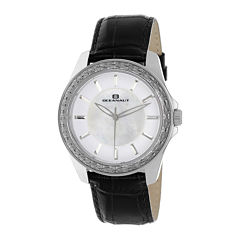 Oceanaut Womens Angel White Faux Pearl & Black Leather Strap Watch