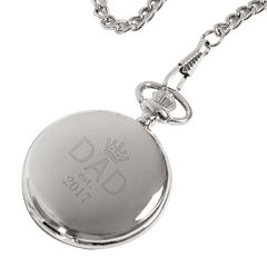 Personalized Father's Day Silver-Plated Pocket Watch