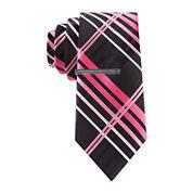 JF J. Ferrar® Kyle Plaid Tie and Tie Bar Set - Slim