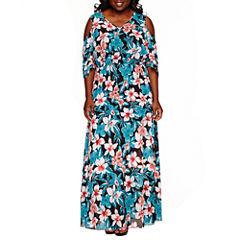 Boutique + Cold Shoulder Woven Maxi Dress-Plus