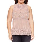 Boutique + Sleeveless Mock Neck Knit Blouse-Plus