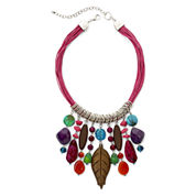 Aris by Treska Multicolor Stone Cord Bib Necklace