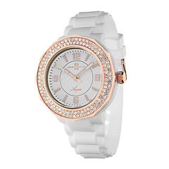 Oceanaut Acqua Womens Rose-Tone and White Rubber Strap Watch