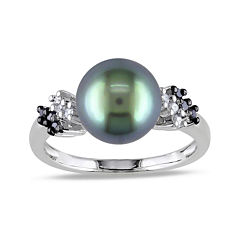 1/8 CT. T.W. Diamond & Genuine Black Tahitian Pearl 10K White Gold Ring