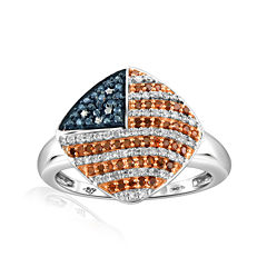 1/3 CT. T.W. White and Color-Enhanced Red and Blue Diamond Sterling Flag Ring