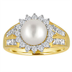 Cultured Freshwater Pearl and Lab-Created White Sapphire 14K Yellow Gold Over Sterling Silver Ring