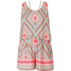 Speechless Sleeveless Romper & Necklace - Big Kid