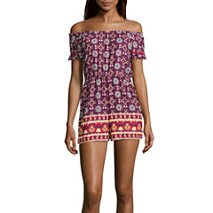 My Michelle Short Sleeve Romper-Juniors
