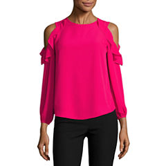 by&by Short Sleeve U Neck Blouse-Juniors