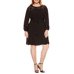 Worthington Long Sleeve Lace Fit & Flare Dress-Plus