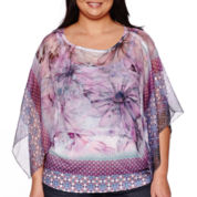 Unity® 3/4-Sleeve Chiffon Top with Printed Tank Top - Plus