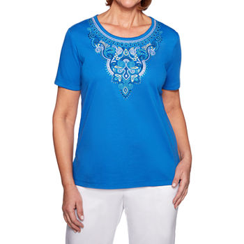 Alfred Dunner Waikiki womens Crew Neck Short Sleeve T shirt