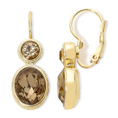Monet® Gold-Tone Brown Stones Double-Drop Earrings