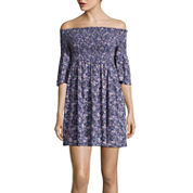 Arizona 3/4 Sleeve Fit & Flare Dress-Juniors