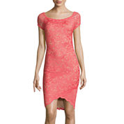 Bisou Bisou® Short-Sleeve Lace Sheath Dress