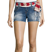 Wallflower Belted Americana Denim Shorts