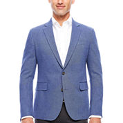 Stafford Linen Cotton Blue Herringbone Sport Coat- Slim