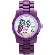 Sprout® Eco-Friendly Womens Purple Owl Corn Resin Bracelet Watch