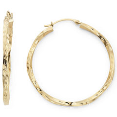 Diamond-Cut Round Twist Hoop Earrings 10K Gold