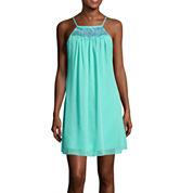 My Michelle® Spaghetti-Strap Embroidered-Yoke A-Line Dress