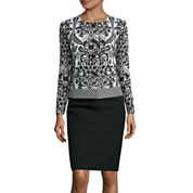 Isabella Long-Sleeve Jaquard Jacket Skirt Suit