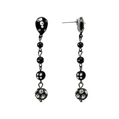 Aris by Treska Black and Silver-Tone Linear Drop Earrings