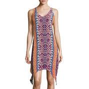 My Michelle® Sleeveless Printed Lace-Up-Back Alternative-Hem Dress