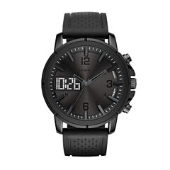 Geneva Mens Black Strap Watch-Fmdjm573