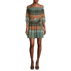 Byer California 3/4 Sleeve Peasant Dress-Juniors