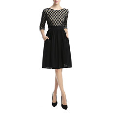 Phistic Indigo Polka Dot Elbow Sleeve Fit & Flare Dress
