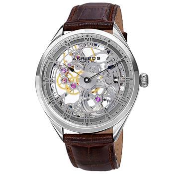 Akribos Xxiv Mens Brown Leather Strap Watch a 802gy