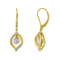 Cultured Freshwater Pearl 14K Yellow Gold Over Sterling Silver Earrings